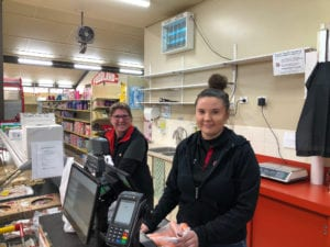 Mel and Jess at the Leigh Creek IGA